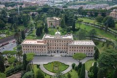 Panoramic view on Vatican city from Papal Basilica of St. Peter. Rome, Italy - June 22, 2018: Panoramic view on Vatican city from Papal Basilica of St. Peter (St royalty free stock photo