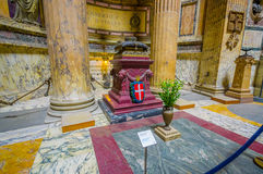 ROME, ITALY - JUNE 13, 2015: Pantheon of Agrippa inside view, marble and gold finishing structures. People visiting and Royalty Free Stock Image