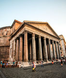 Rome, Italy -June 25, 2016:The Pantheon is one of the great spiritual buildings of the world. It was built as a Roman temple and l. He Pantheon is one of the royalty free stock photos