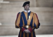 Papal Swiss Guard in uniform royalty free stock image