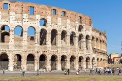 People in front of  Colosseum in city of Rome, Italy. ROME, ITALY - JUNE 23, 2017: People in front of  Colosseum in city of Rome, Italy Royalty Free Stock Photo