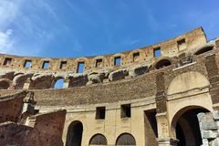 ROME, ITALY - JUNE 24, 2017: People visiting inside part of  Colosseum in city of Rome Stock Photo