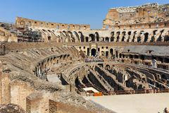 ROME, ITALY - JUNE 24, 2017: People visiting inside part of  Colosseum in city of Rome Stock Photography