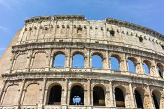 ROME, ITALY - JUNE 24, 2017: People visiting inside part of  Colosseum in city of Rome. Italy Royalty Free Stock Photo