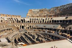 ROME, ITALY - JUNE 24, 2017: People visiting inside part of  Colosseum in city of Rome Royalty Free Stock Photos