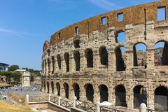 ROME, ITALY - JUNE 24, 2017: People visiting inside part of  Colosseum in city of Rome. Italy Royalty Free Stock Photography