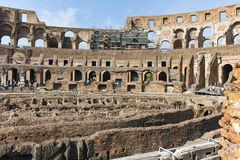 ROME, ITALY - JUNE 24, 2017: People visiting inside part of  Colosseum in city of Rome Stock Images