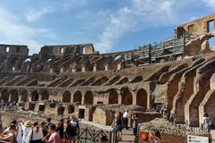 ROME, ITALY - JUNE 24, 2017: People visiting inside part of  Colosseum in city of Rome Royalty Free Stock Photography