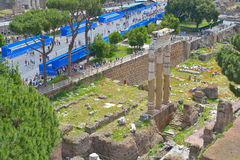 Rome, ITALY - JUNE 01: Roman Forum ruins in Rome, Italy on June 01, 2016 Royalty Free Stock Photography