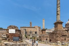 Ruins of Roman Forum and Capitoline Hill in city of Rome, Italy. ROME, ITALY - JUNE 24, 2017: Ruins of Roman Forum and Capitoline Hill in city of Rome, Italy royalty free stock photography