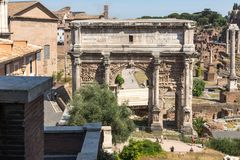 Ruins Septimius Severus Arch and Roman Forum in city of Rome, Italy Stock Photography
