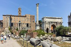 ROME, ITALY - JUNE 24, 2017: Septimius Severus Arch and Capitoline hill in Roman Forum in city of Rome Stock Photo