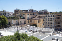 Rome Italy 17 June 2016. Stored equipment used for Spanish Steps restoration. Scalinata view from Trinita del Monti church. The restoration is estimated to cost stock images