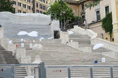 Rome, Italy 17 June 2016. Stuff working the restoration of the Spanish Steps. The restoration of the famous Steps at Piazza dI Spagna is estimated to cost 1.5 royalty free stock images