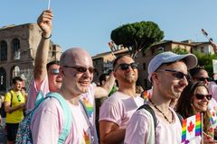 Gay Pride in Rome, Italy. Crowd of protesters in the square stock images