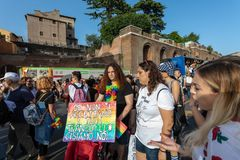 Gay Pride in Rome, Italy. Crowd of protesters in the square royalty free stock photography