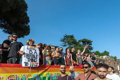 Gay Pride in Rome, Italy. Crowd of protesters in the square royalty free stock image