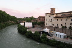 Rome Italy 17 June 2016. Tiber Island (Isola Tiberina) summer cinema. Every summer Isola del Cinema presents a film festival, this year named Hollywood Sul stock image