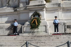 Rome Italy 18 June 2016. Tomb of the Unknown Soldier at Altare della Patria. Guards on the National Monument to Victor Emmanuel II, the king that unified Italy stock images