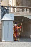 Rome, ITALY - JUNE 01: Vatican Swiss guard in Vatican, Rome, Italy on June 01, 2016 Stock Images