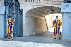 Rome, ITALY - JUNE 01: Vatican Swiss guard in Vatican, Rome, Italy on June 01, 2016 Stock Photo