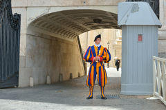 Rome, ITALY - JUNE 01: Vatican Swiss guard in Vatican, Rome, Italy on June 01, 2016 Royalty Free Stock Images