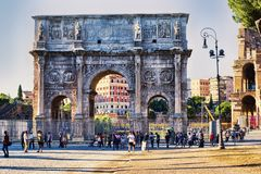 View of the Arch of Constantine  from Via dei Fori Imperiali in Rome. Rome, Italy - June 30, 2018: View of the Arch of Constantine  from Via dei Fori Imperiali Stock Photography