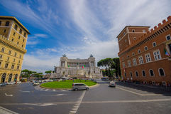 ROME, ITALY - JUNE 13, 2015: Vittorio Emanuele II monument or Altar of motherland nice view with a little square in Stock Image