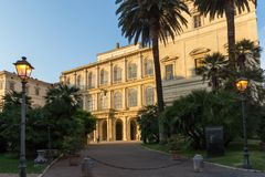 Yellow Sunset at Sunset Palazzo Barberini - National Gallery of Ancient Art in Rome, Italy. ROME, ITALY - JUNE 24, 2017: Yellow Sunset at Sunset Palazzo Stock Image