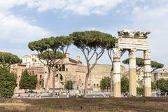 Rome Italy:landscape of Via dei Fori Imperiali and Trajan's Forum. Landscape of Via dei Fori Imperiali and Trajan's Forum in Rome Royalty Free Stock Image