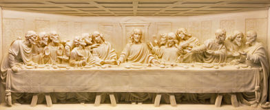 ROME, ITALY: The Last Supper marble relief on the altar of church Basilica di Santa Maria Ausiliatrice by unknown artist. Stock Photo
