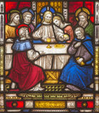 ROME, ITALY: The Last Supper on the windowpane of All Saints' Anglican Church by workroom Clayton and Hall Royalty Free Stock Images