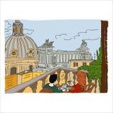 Rome, Italy. Loving couple having breakfast on the balcony in Rome royalty free illustration