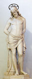 ROME, ITALY: Marble statue of Christ Tied to the Column of Flagellation. The vestibule of church Chiesa di San Lorenzo Royalty Free Stock Photography