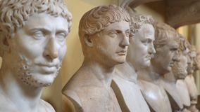 Ancient roman marble head sculptures in the Vatican Museums. Rome, Italy - March 21, 2018: Ancient roman marble head sculptures in the Vatican Museums stock video footage
