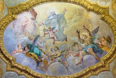 ROME, ITALY - MARCH 9, 2016: The ceiling fresco of Apotheosis of St. Clara in side chapel of church Chiesa di San Silvestro Stock Photography