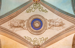 ROME, ITALY - MARCH 12, 2016: The ceiling frescoes in church Chiesa di Nostra Signora del Sacro Cuore by unknown artist Stock Images