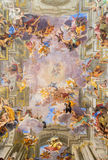 ROME, ITALY - MARCH 10, 2016: The central part of vault baroque fresco The Apotheosis of St Ignatius Stock Photo