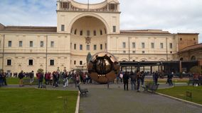 Courtyard of the Pigna Vatican Museum. Rome, Italy - March 21, 2018: Courtyard of the Pigna Vatican Museum stock footage