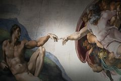 Rome Italy March 08 creation of Adam by Michelangelo stock image