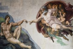 Rome Italy March 08 creation of Adam by Michelangelo stock images