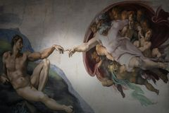Rome Italy March 08 creation of Adam by Michelangelo stock photo