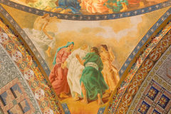 ROME, ITALY - MARCH 10, 2016: The detail of Dormition of Virgin Mary fresco Royalty Free Stock Images