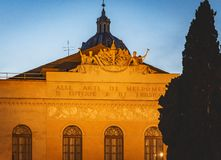 Detail of the external facade of the Teatro Argentina in Rome royalty free stock photography