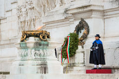 ROME,ITALY-March 24,2015: a female soldier guard at the monument Stock Photo