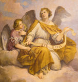 ROME, ITALY - MARCH 9, 2016: The fresco of angels in church Chiesa di Santa Maria in Aquiro (Our Lady of Lourdes chapel) royalty free stock photography