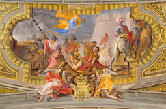 ROME, ITALY - MARCH 10, 2016: The fresco of Conversion of St. Ignace (siege of Pamplona) by Ludovico Mazzanti. (1686 - 1775) in church Chiesa di Sant'Ignazio di royalty free stock photos