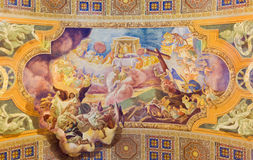 ROME, ITALY - MARCH 10, 2016: The fresco The Offering of the Sacrifice of the Body and Blood of Christ (1957-1965). In church Basilica di Santa Maria Royalty Free Stock Images