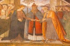 ROME, ITALY - MARCH 9, 2016: The fresco  Wedding of Virgin Mary and St. Joseph by Antonio da Viterbo (1450-1516) Stock Image
