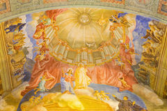 ROME, ITALY - MARCH 10, 2016: The Help Of Christians and Jesus ceiling fresco (1957-1965). In church Basilica di Santa Maria Ausiliatrice by the Salesian priest Royalty Free Stock Photography